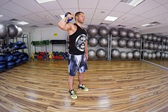One-arm kettlebell push press